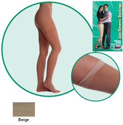 JUZO Dynamic Thigh-High Stockings w/ Left Hip Attachment - 40-50mmhg (Closed Toe)