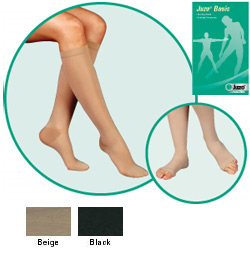 JUZO Basic Knee-High Stockings - 15-20mmhg (Open Toe, Short Length)