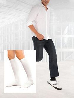186 Casual Cotton Series - Mens Calf-High Socks - 15 - 20mmHg