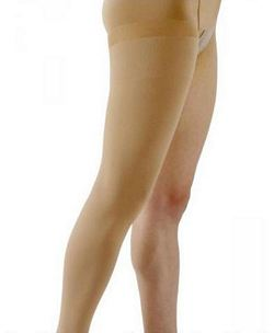 500 Natural Rubber Series - Unisex Thigh-High w/ Grip Top Open Toe Stockings - 30 - 40mmHg