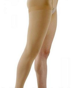 500 Natural Rubber Series - Unisex Thigh-High w/ Grip Top Open Toe Stockings - 40 - 50mmHg