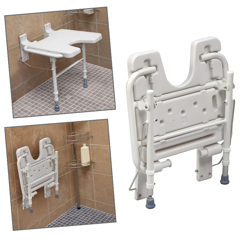 Fold Away Wall Mount Shower Seat W Grab Bar Bathroom