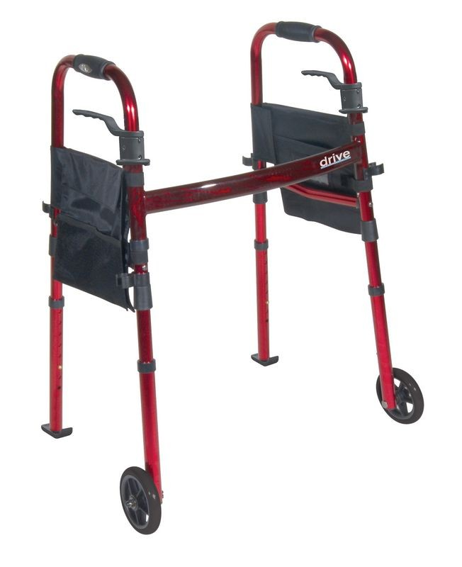 Portable Folding Walker W 5 In Wheels Amp Fold Up Legs